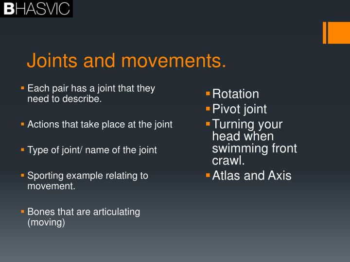 Joints and movements.