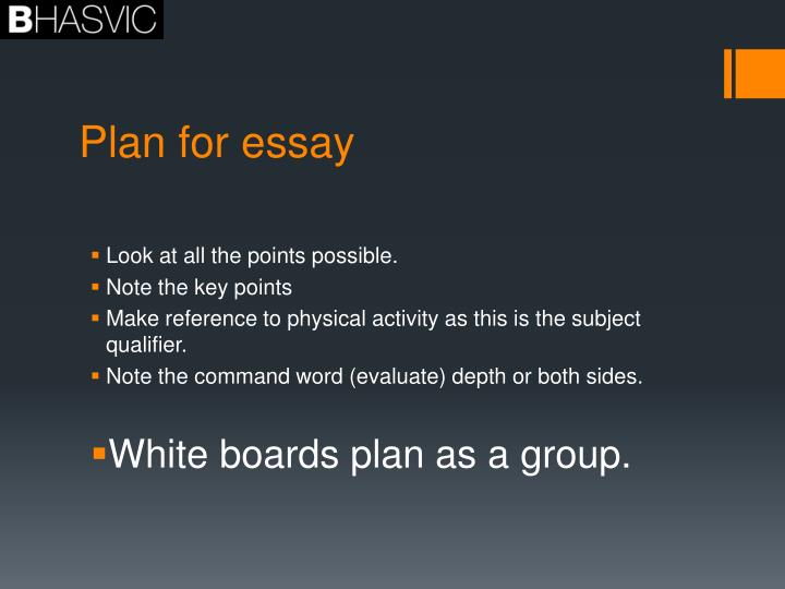 Plan for essay