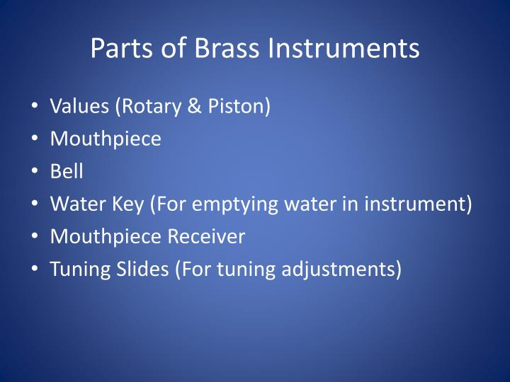 Parts of brass instruments