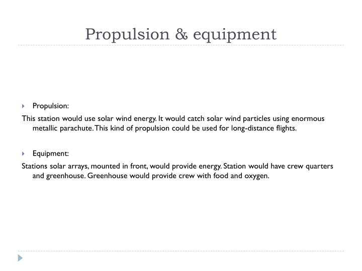 Propulsion & equipment