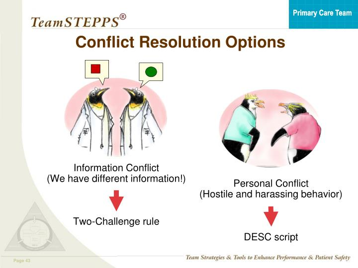 Conflict Resolution Options