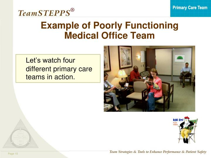 Example of Poorly Functioning Medical Office Team