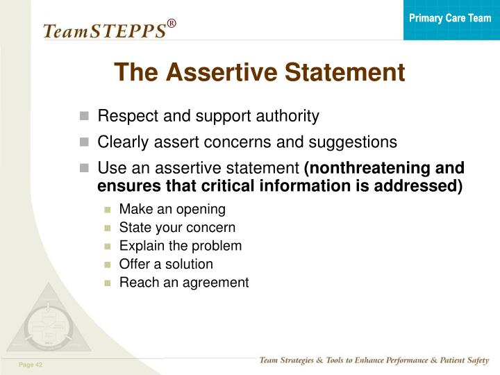 The Assertive Statement