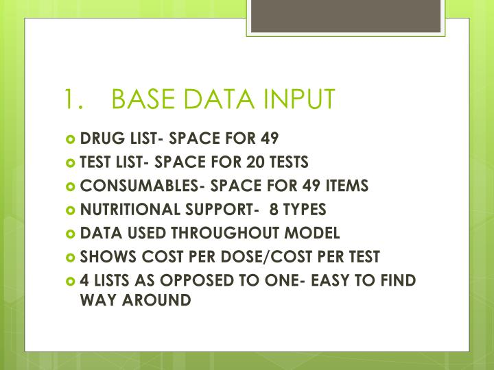 1 base data input