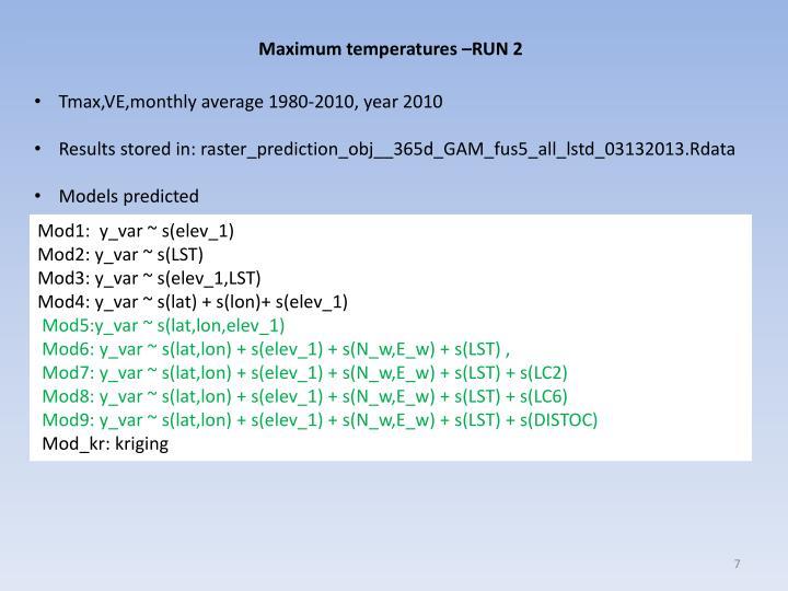 Maximum temperatures –RUN 2