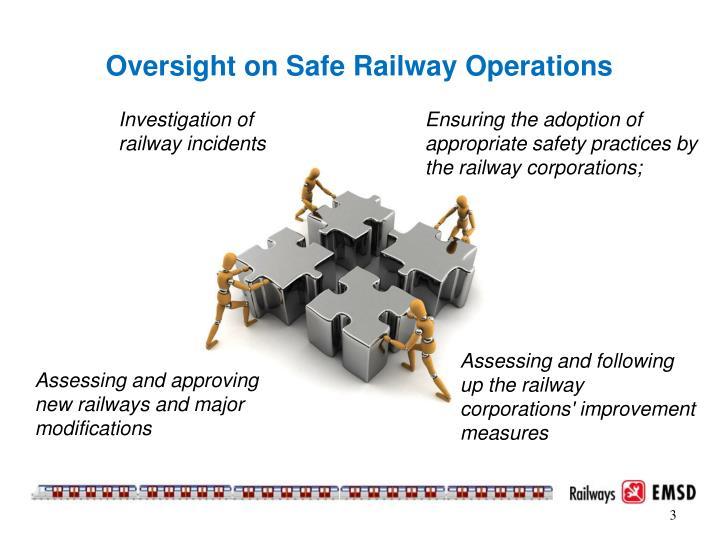Oversight on safe railway operations