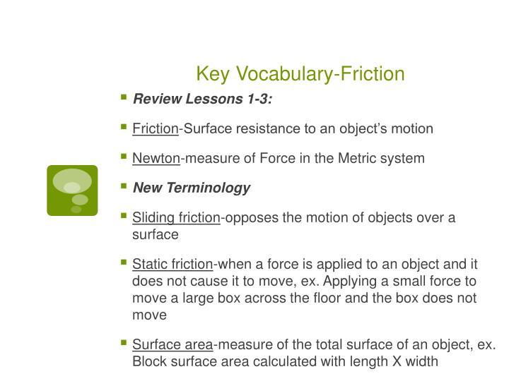 Key Vocabulary-Friction