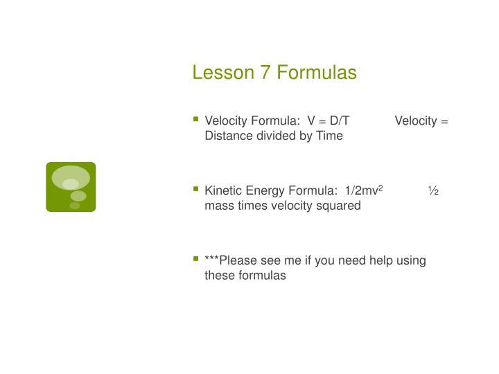 Lesson 7 Formulas