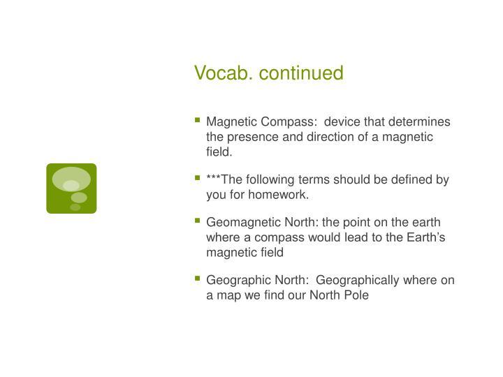 Vocab. continued