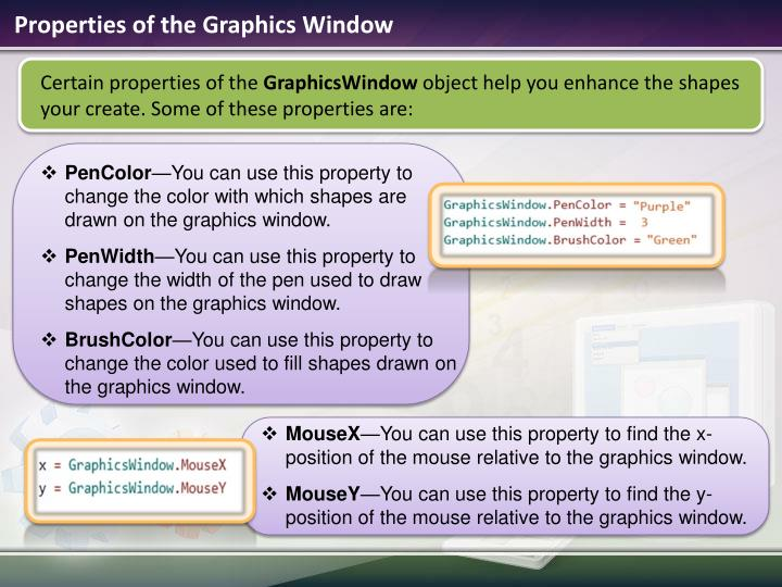Properties of the Graphics Window