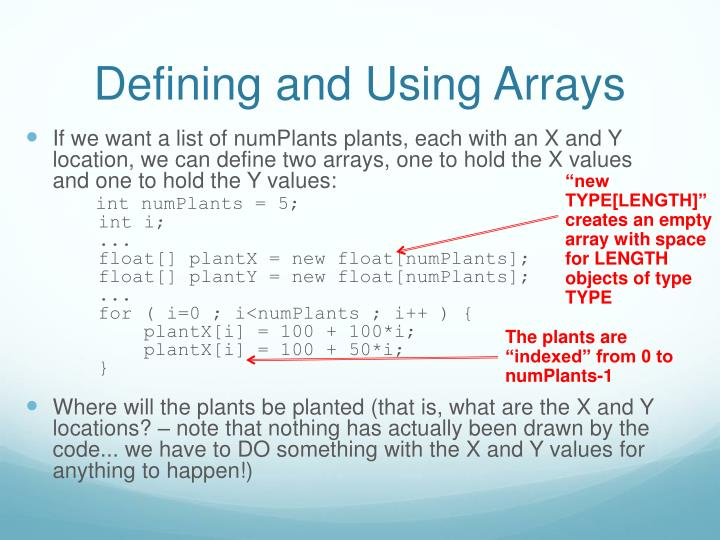 Defining and Using Arrays