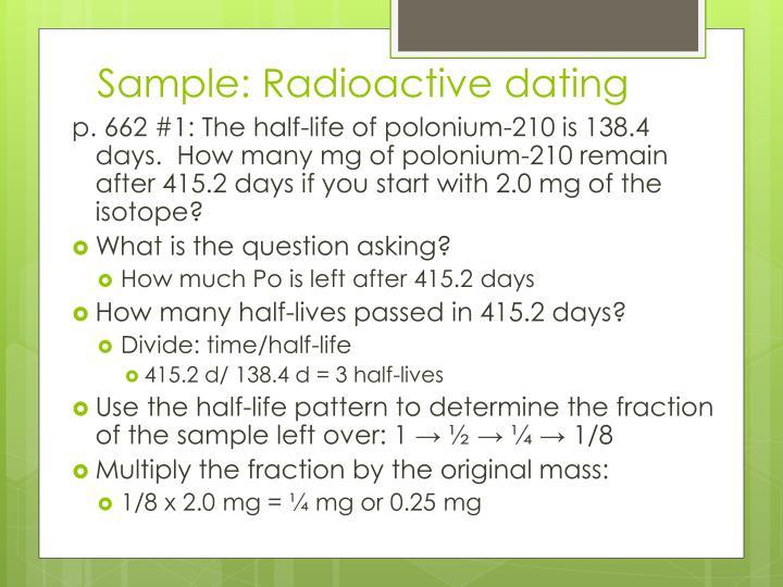 Sample: Radioactive dating