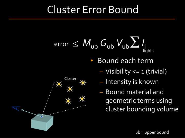 Cluster Error Bound