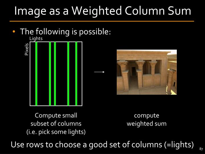 Image as a Weighted Column Sum