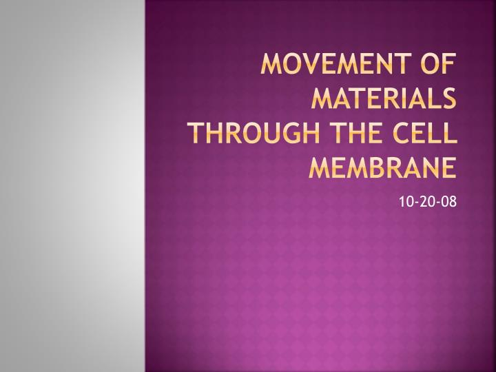Movement of materials through the cell membrane