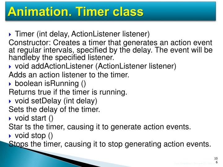 Animation. Timer class