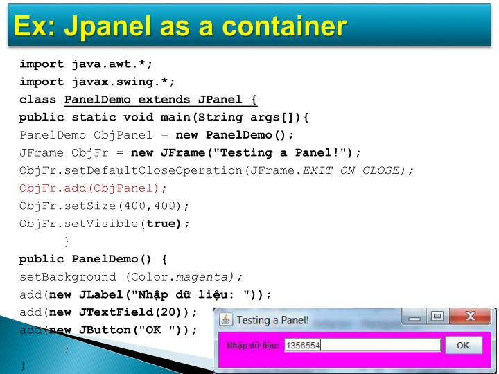 Ex: Jpanel as a container