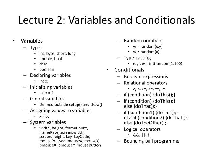 Lecture 2 variables and conditionals