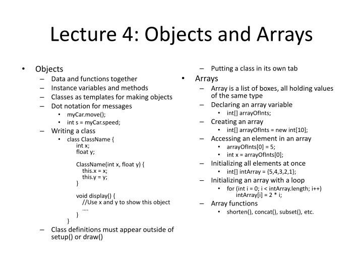 Lecture 4: Objects and Arrays