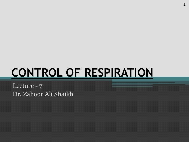 control of respiration n.