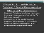 effect of p o 2 p co 2 and h ion on peripheral central chemoreceptors1