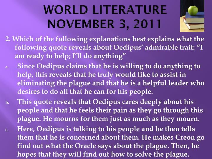 World literature november 3 20111