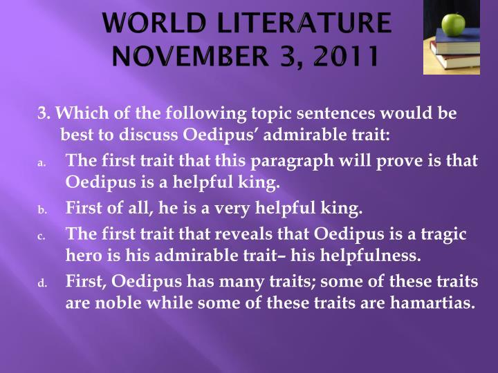 World literature november 3 20112