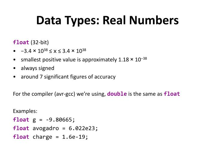 Data Types: Real Numbers