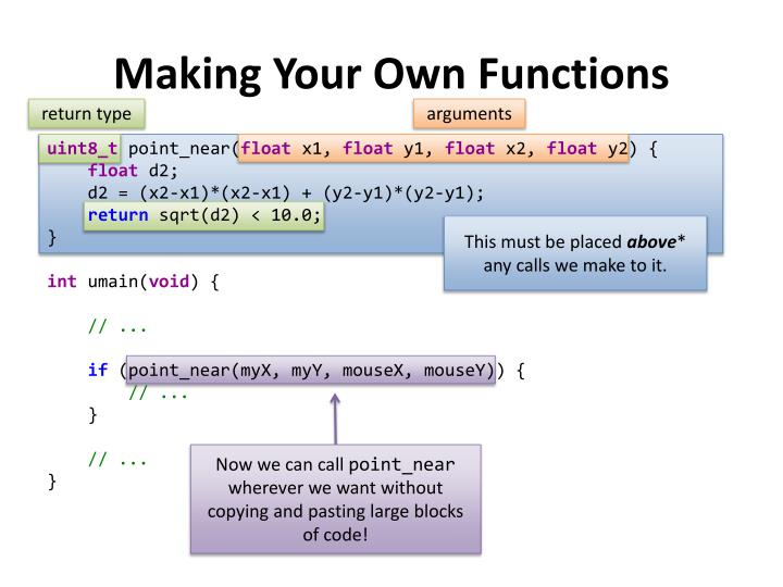 Making Your Own Functions