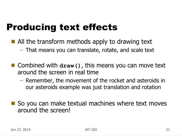 Producing text effects