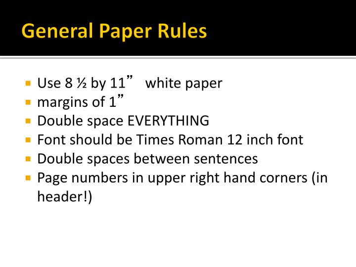 General Paper Rules