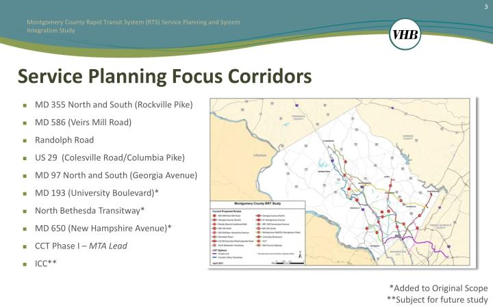 Service planning focus corridors