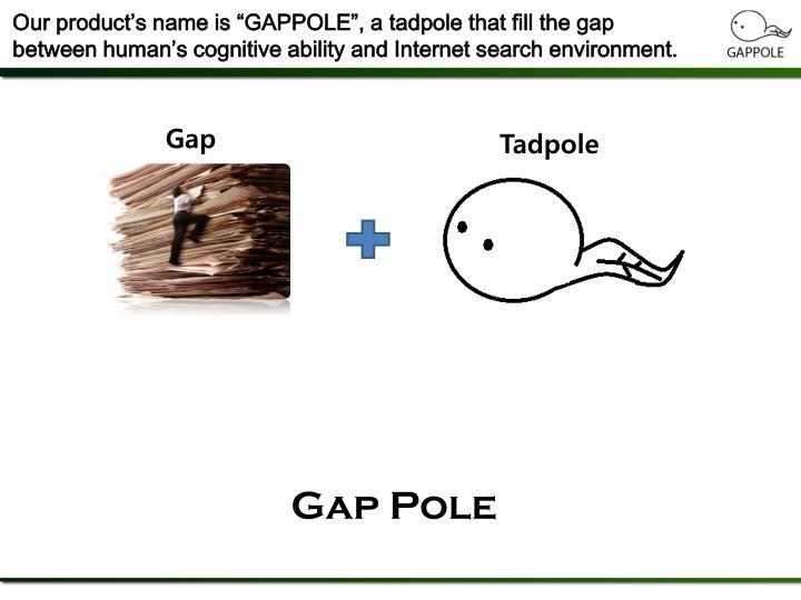 "Our product's name is ""GAPPOLE"", a tadpole that fill the gap between human's cognitive ability and Internet search environment."
