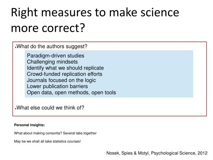 Right measures to make science more correct?