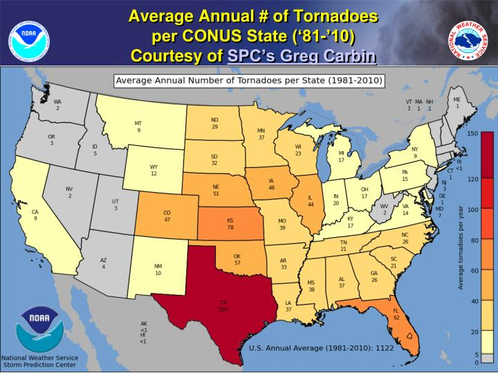Average Annual # of Tornadoes