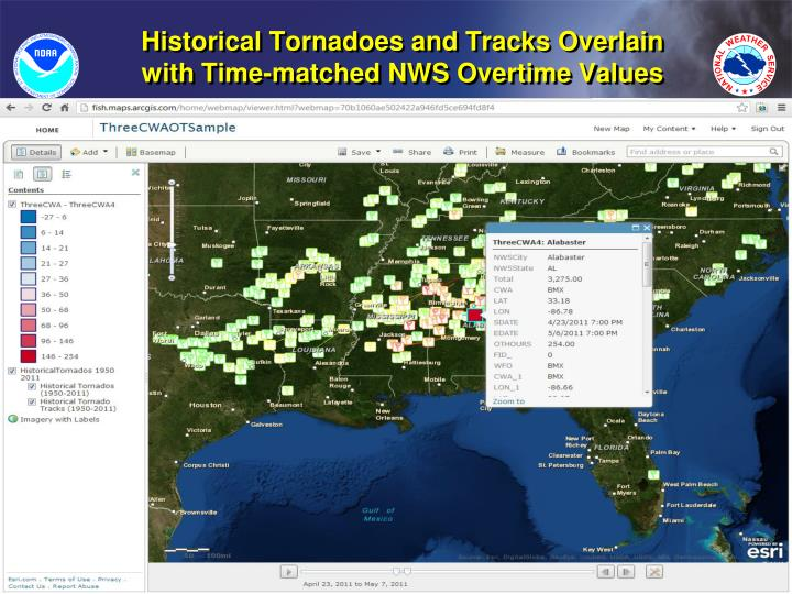 Historical Tornadoes and Tracks Overlain