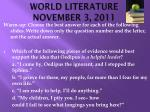 world literature november 3 2011