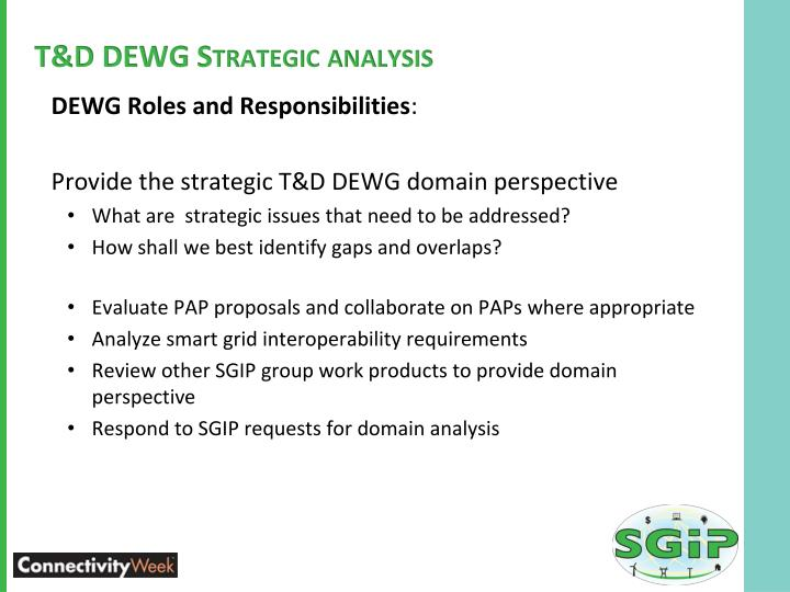 T&D DEWG Strategic analysis