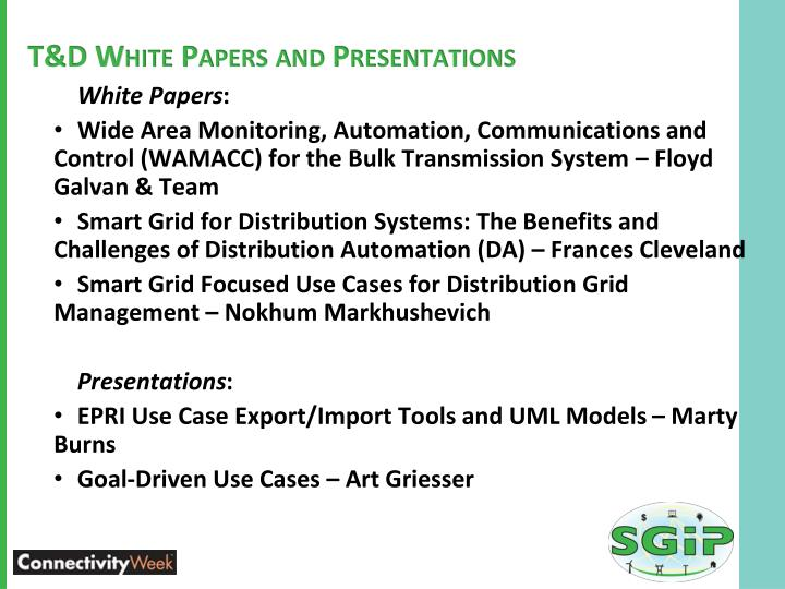 T&D White Papers and Presentations