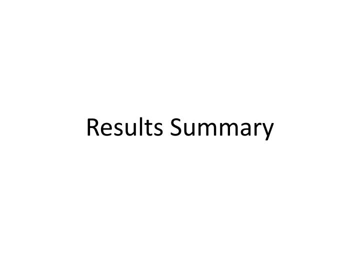 Results Summary
