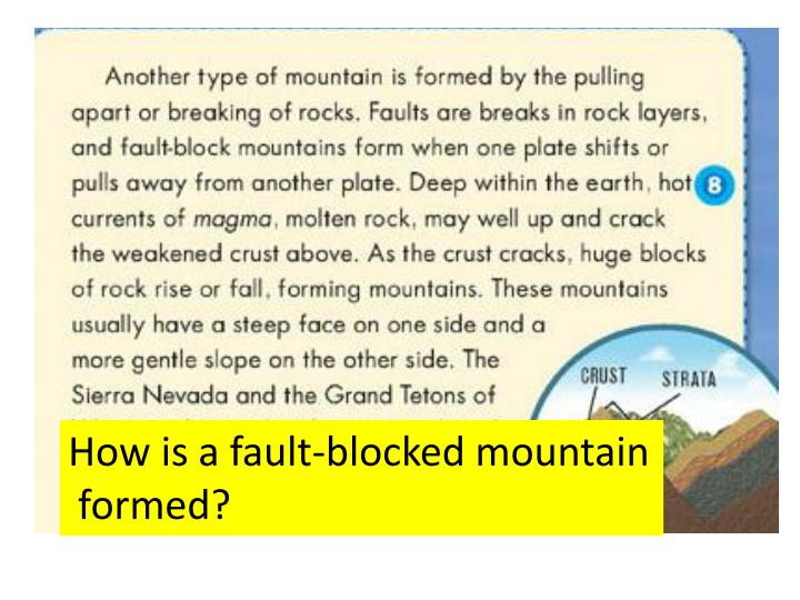 How is a fault-blocked mountain