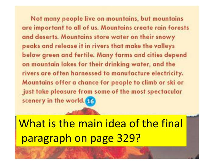 What is the main idea of the final