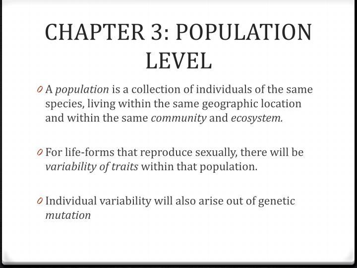CHAPTER 3: POPULATION LEVEL