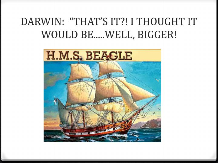 """DARWIN:  """"THAT'S IT?! I THOUGHT IT WOULD BE.....WELL, BIGGER!"""