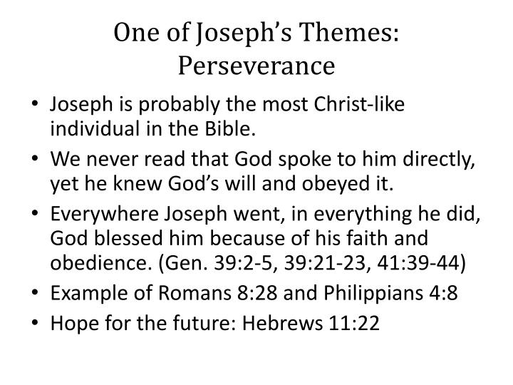 One of Joseph's Themes: Perseverance