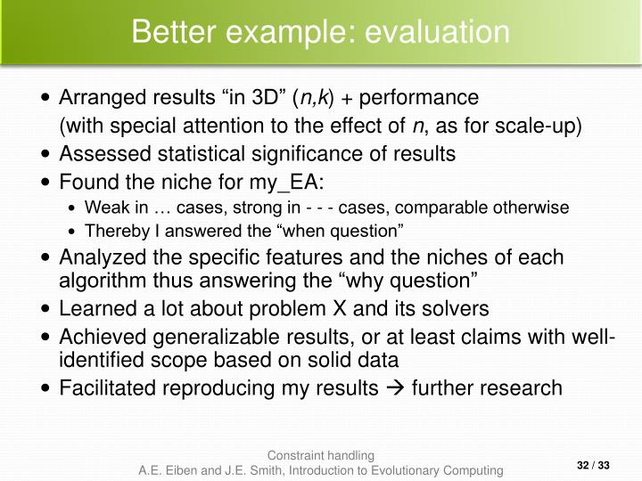 Better example: evaluation