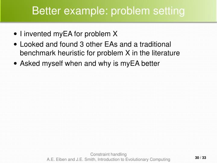 Better example: problem setting
