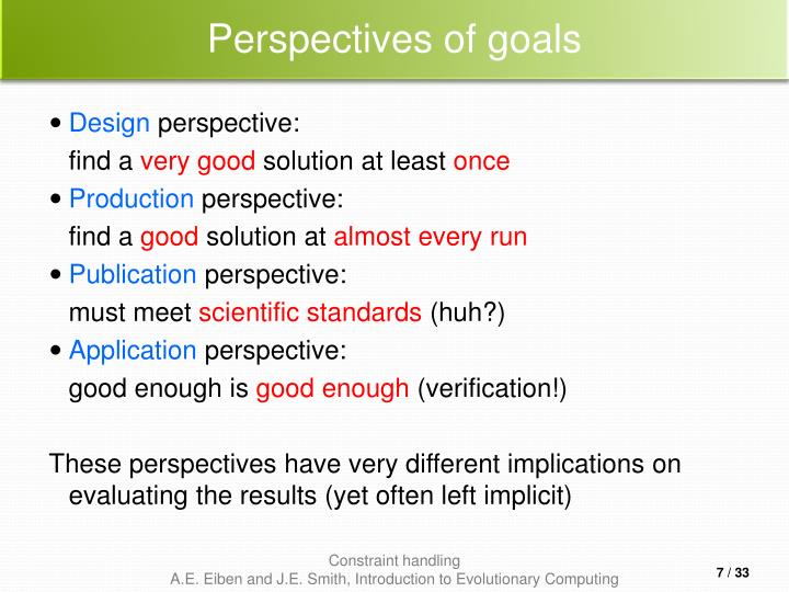 Perspectives of goals