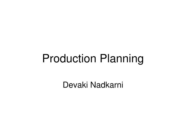 production planning n.