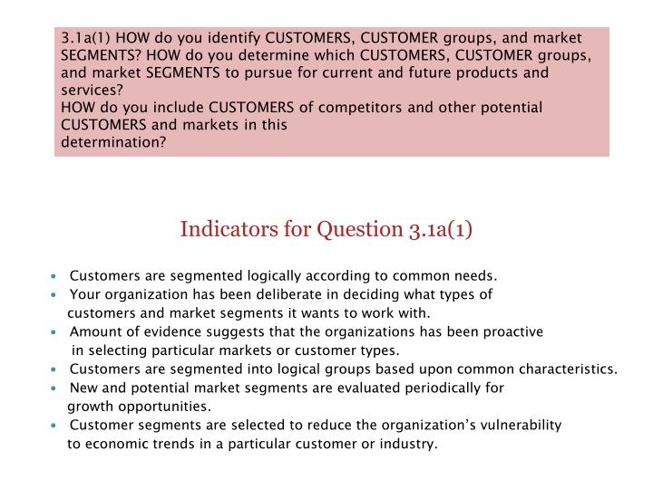 3.1a(1) HOW do you identify CUSTOMERS, CUSTOMER groups, and market SEGMENTS? HOW do you determine wh...